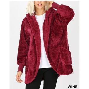 New! Wine Soft Fur Sherpa Coat Bundle 2 For $49